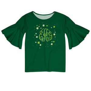 Clovers Monogram Green Short Sleeve Ruffle Top - Wimziy&Co.