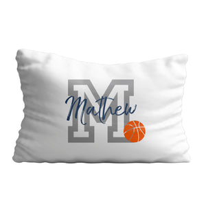 Basketball initial and name white pillow case - Wimziy&Co.
