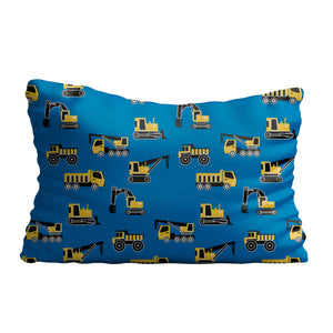 Construction machines and name print blue pillow case - Wimziy&Co.