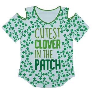 Cutest Clover In The Patch Cold Shoulder Short Sleeve Top - Wimziy&Co.
