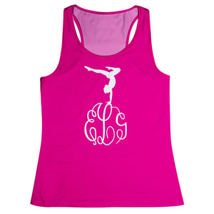 Hot pink gymnast silhouette with monogram - Wimziy&Co.