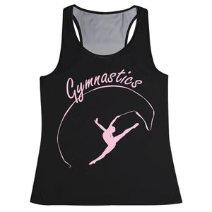 Black and pink gymnast silhouette girls tank top - Wimziy&Co.