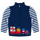 Boys navy and white christmas train long sleeve quarter zip sweatshirt
