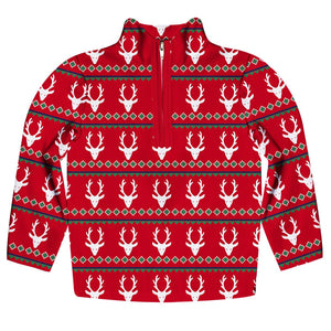 Red and white reindeers long sleeve quarter zip sweatshirt - Wimziy&Co.