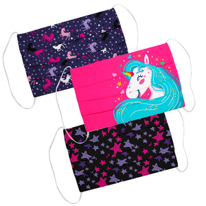 Cute Unicorn and Star Print Color Face Mask Set Of Three - Wimziy&Co.