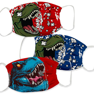 Dinosaur Red and Blue Face Mask Set Of Three - Wimziy&Co.