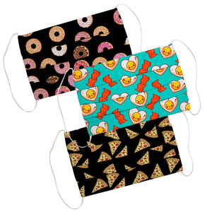 Food Print Colors Face Mask Set Of Three