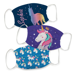 Magic Unicorn Name Colors Face Mask Set  Of Three - Wimziy&Co.