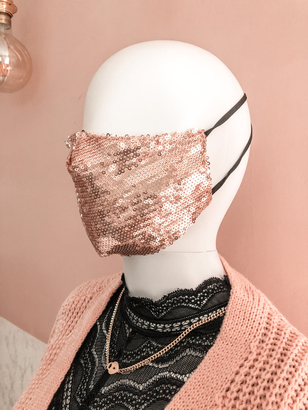 Face mask Pink Sequins
