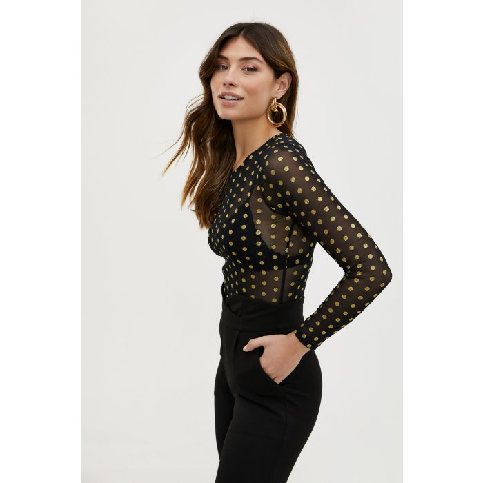 Polka dotted mesh top