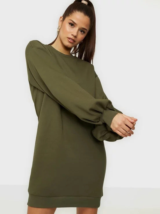 Balloon sleeve Sweat dress - Olive green