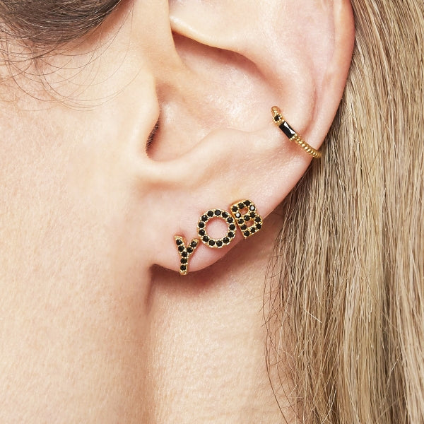 Small earcuff Black & Gold