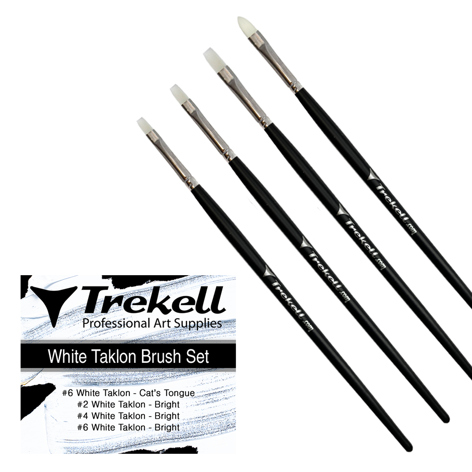 White Taklon Brush Set