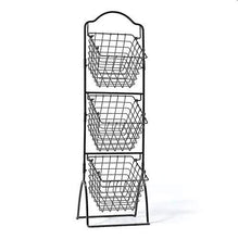 Load image into Gallery viewer, K-Cliffss 3 Tier Wire Basket Shelving for Kitchen Fruit Storage Market Organization | Brushed Antique Black - k-cliffs