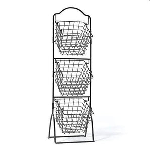 K-Cliffss 3 Tier Wire Basket Shelving for Kitchen Fruit Storage Market Organization | Brushed Antique Black - k-cliffs
