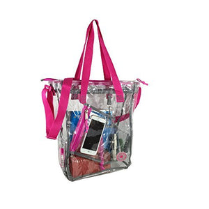 Clear Transparent Zippered Tote Messenger Bag Bookbag with Cell Phone Pouch & Coin Pouch - k-cliffs