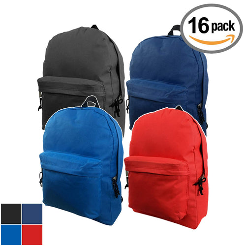Classic Backpack Wholesale 16 inch Basic Bookbag Bulk School Book Bags 16pcs Lot - k-cliffs