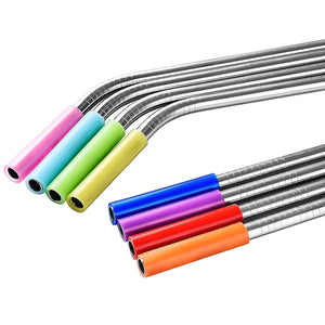 Set of 8 Stainless Steel Reusable Straws with Silicone Tips for Tumblers Mugs Soda | Eco Friendly | Cleaning Brush Included - k-cliffs