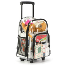 Load image into Gallery viewer, Rolling Clear Backpack Heavy Duty See Through Daypack School Bookbag with Wheels - k-cliffs