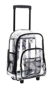 Rolling Clear Backpack Heavy Duty See Through Daypack School Bookbag with Wheels - k-cliffs
