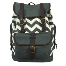"Load image into Gallery viewer, Printed Cotton Canvas Laptop Backpack w/ Chevron Pattern Cotton | Fits 15.6"" Laptops Grey - k-cliffs"