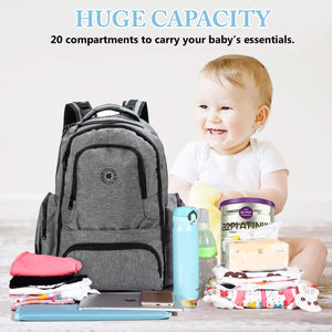 Water Resistant 26L Large Multifunction Baby Diaper Changing Bag Backpack for Moms & Dads, Hidden Anti Theft Compartments - k-cliffs