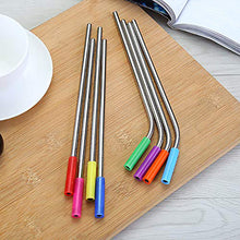 Load image into Gallery viewer, Set of 8 Stainless Steel Reusable Straws with Silicone Tips for Tumblers Mugs Soda | Eco Friendly | Cleaning Brush Included - k-cliffs