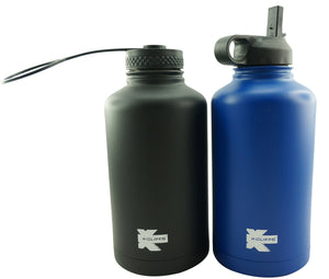 K-Cliffs Vacuum Insulated Sport Water Bottle Flask Double Wall Stainless Steel Sports Flasks BPA Free 3 Lids Included Straw Coffee Sport Cap Thermo Flasks - k-cliffs