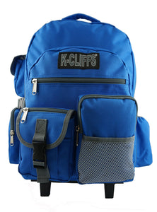 Deluxe Wheeled Rolling Backpack for School with Premium Sturdy Wheels - k-cliffs