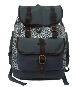 "Printed Cotton Canvas Laptop Backpack w/ Swirl Pattern Cotton | Fits 15.6"" Laptops Grey - k-cliffs"