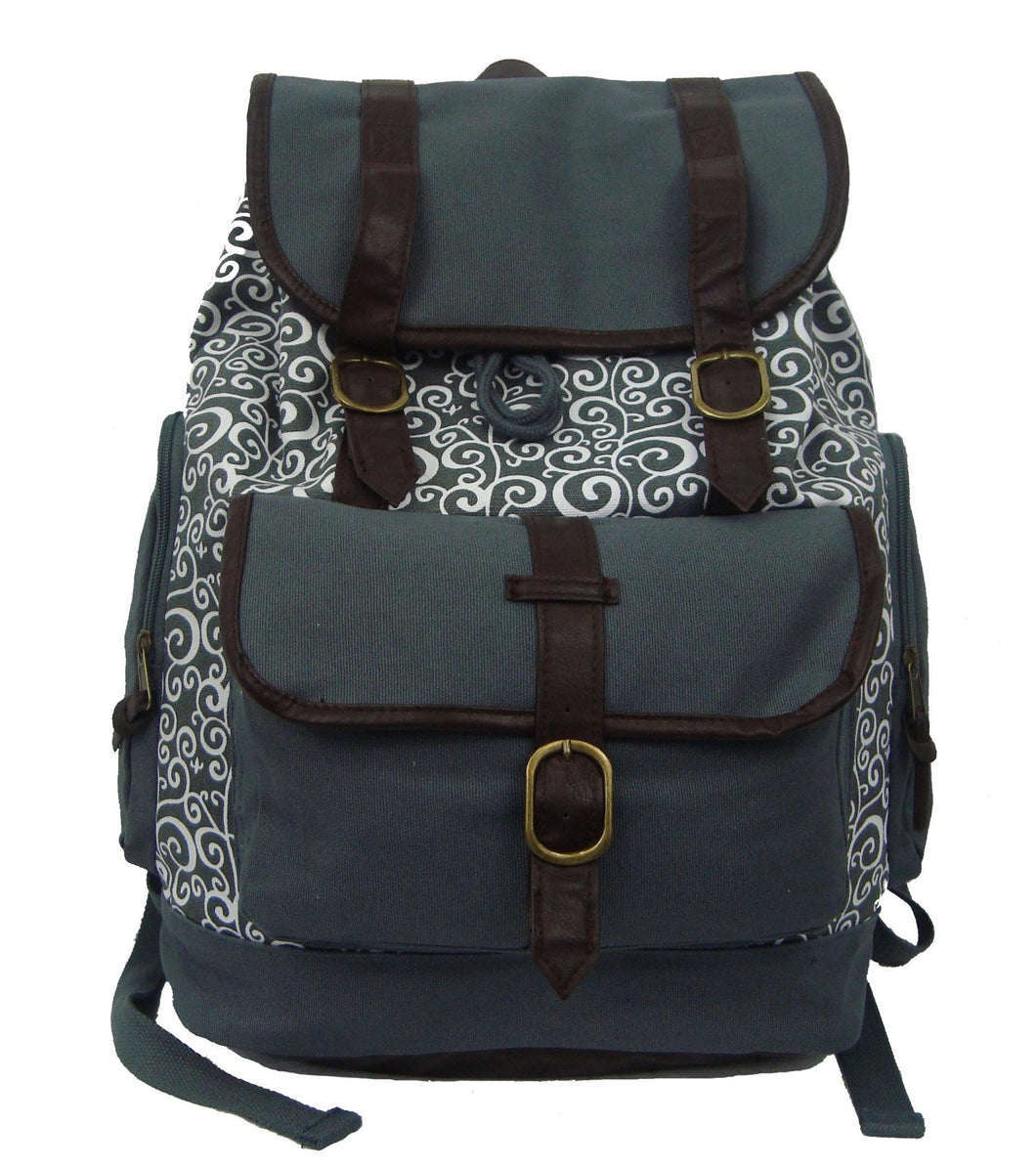 Printed Cotton Canvas Laptop Backpack w/ Swirl Pattern Cotton | Fits 15.6