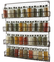 Load image into Gallery viewer, 4 Tier Rustic Brown Metal Wire Spice Rack Kitchen Wall Mount - k-cliffs