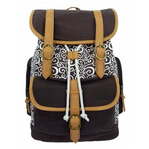 "Printed Cotton Canvas Laptop Backpack w/ Swirl Pattern Cotton | Fits 15.6"" Laptops Brown - k-cliffs"