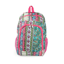 Load image into Gallery viewer, 16.5 Inch Women's Boho Stripe Quilt Patterned Backpack with Mesh Side Pockets