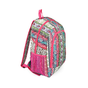 16.5 Inch Women's Boho Stripe Quilt Patterned Backpack with Mesh Side Pockets