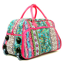 "Load image into Gallery viewer, Women's Carry-on 21"" Boho Stripe Quilt Patterned Zippered Rolling Duffle Bag"