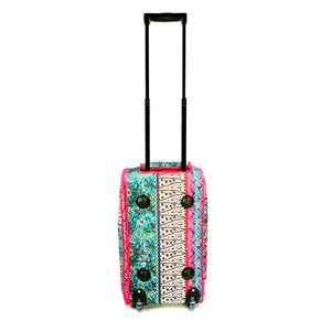 "Women's Carry-on 21"" Boho Stripe Quilt Patterned Zippered Rolling Duffle Bag"