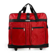 Load image into Gallery viewer, Multi Tiered Collapsible Expandable Wheeled Travel Cargo Ruffle Bag w/Zippered Pockets