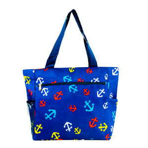 Large Print Patterned Tote Bag w/ Liner for the Beach, Groceries, & School
