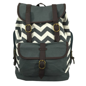 Canvas Laptop Backpack Chevron Pattern Cotton Bookbag Travel Daypack For Computer Tablet