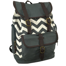 Load image into Gallery viewer, Canvas Laptop Backpack Chevron Pattern Cotton Bookbag Travel Daypack For Computer Tablet