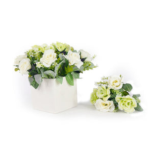 Beautiful Elegant Home Decor Faux Rose Wedding Centerpiece Gift Handmade Arrangement in White Vase