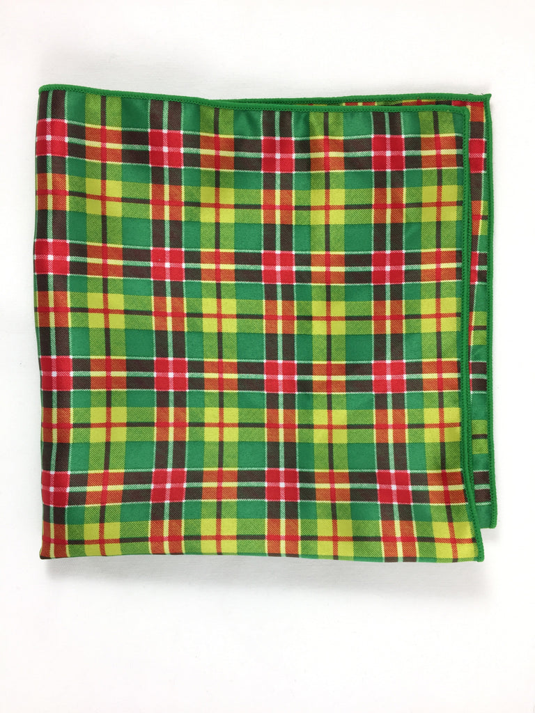Holiday Tartan Green Pocket Square