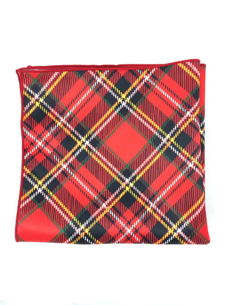 Holiday Tartan Red Pocket Square