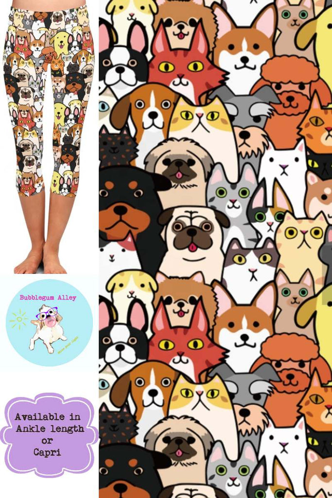 Leggings: Cartoon Dogs & Cats
