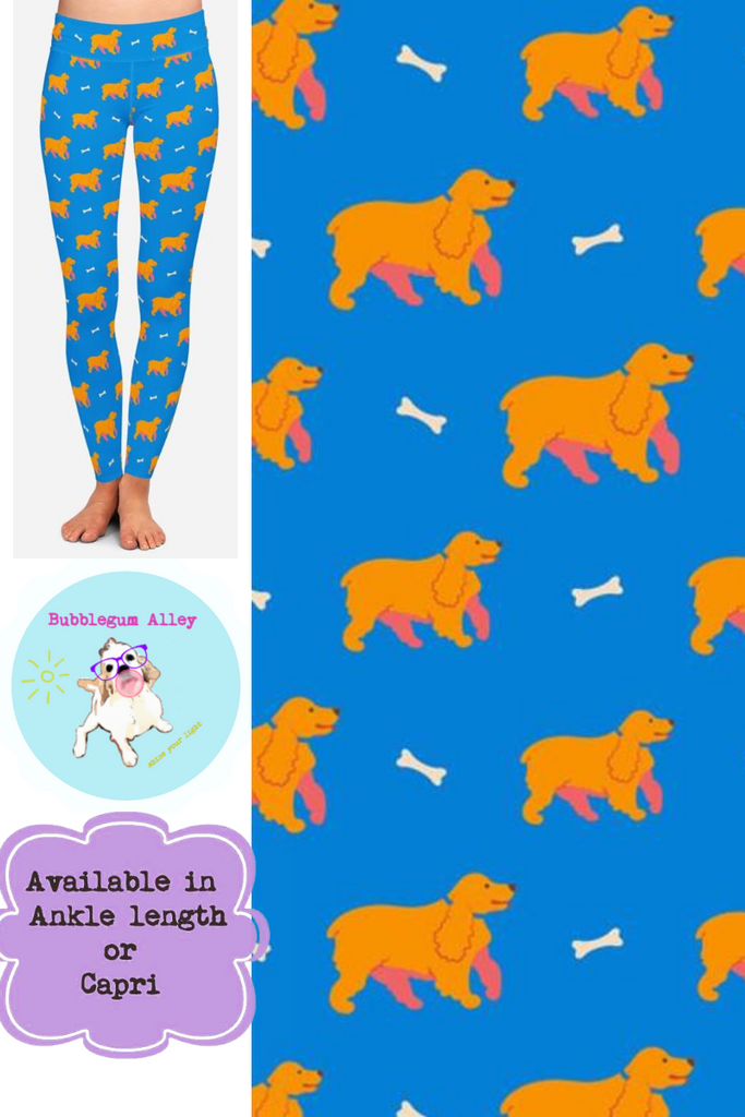 Leggings: Spaniels (gold/blue)