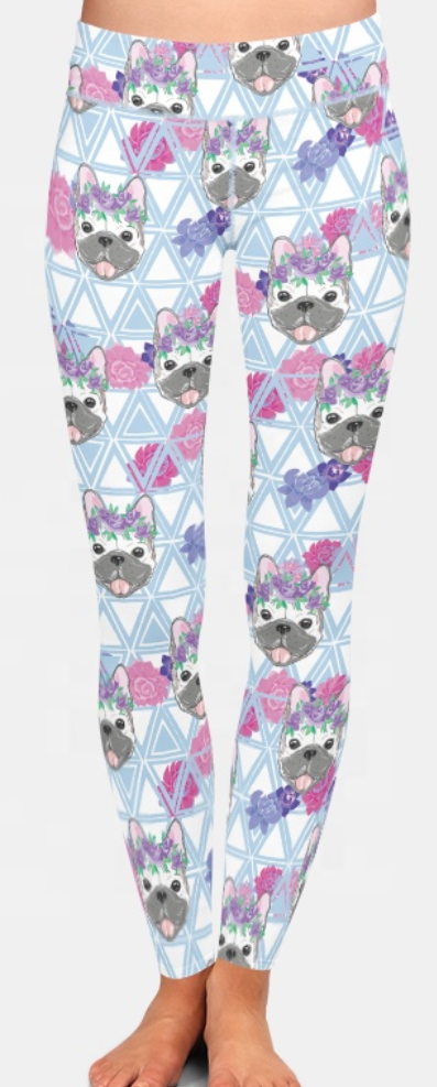 Leggings: Frenchies and flowers