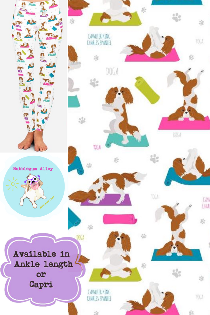 Leggings: Yoga Cavaliers (white)