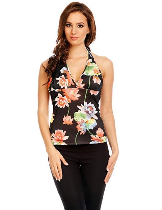 Halterneck Sleeveless V-neck Top