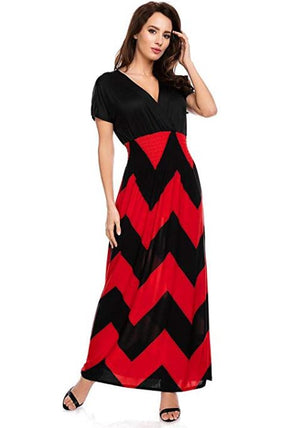 Zig-Zag Wave Short Sleeve Maxi Dress  - Ladies Dresses | Fashionhouse